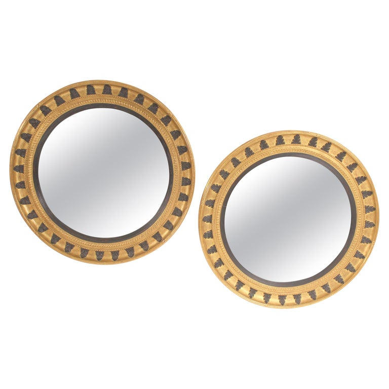 Pair of Neo Classical Style Gilt Wood Bulls Eye Mirrors
