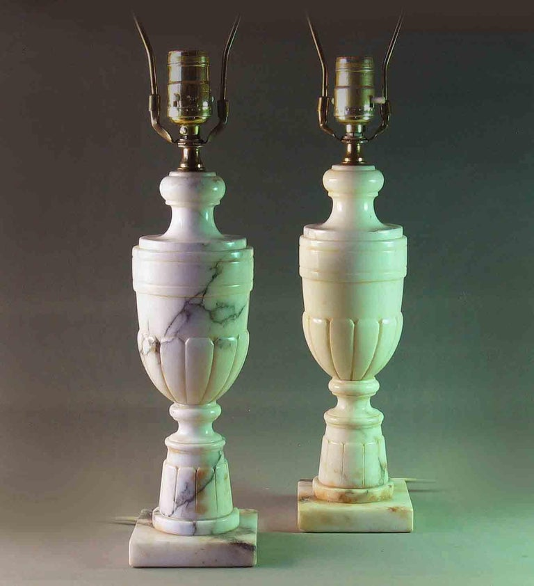 Pair Of Neoclassical Veined Alabaster Marble Urn Shaped