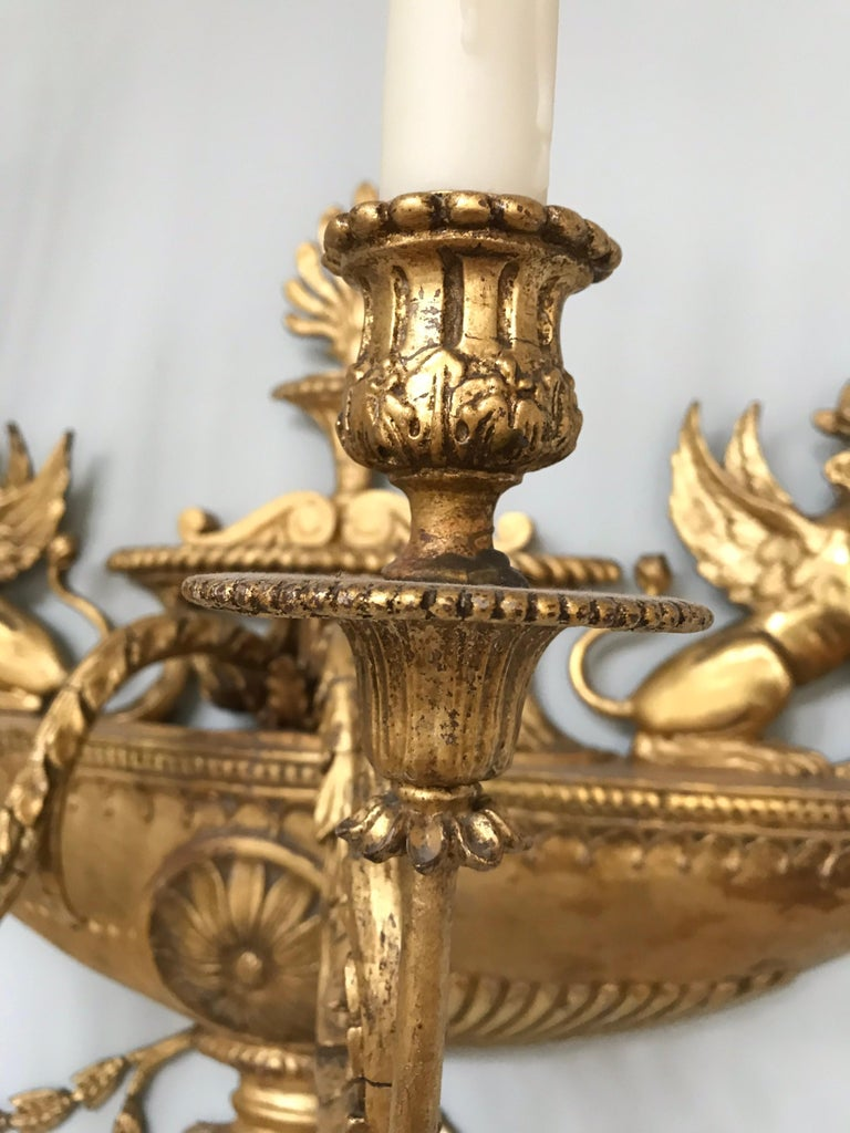 Adam Style Pair of Neoclassical Wall Sconces For Sale