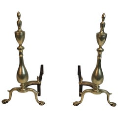 Pair of Neo-Gothic Bronze and Wrought Iron Andirons, French, 19th Century