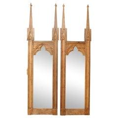 Pair of Neo Gothic Stripped Pine Mirrors