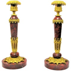 Pair of Neo-Gothic Style Candlesticks Bronze and Marble, 1830 Period