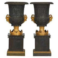 Pair of Neo Gothic Vases Bronze, Gilt Bronze England 1830, Ram Heads