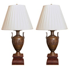 Pair of Neo Grec Bronze Urns on Marble Bases Converted to Lamps