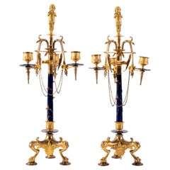 Pair of Neo-Grec Style 3-Arm Dore Bronze and Enamel Candelabras, F. Levillain