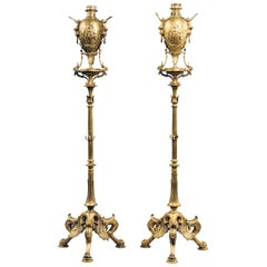 Pair of Neo-Grec Style Torchères Attributed to Ferdinand Barbedienne, Circa 1870