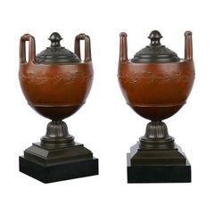 Pair of Neo-Greco Antique Bronze Garniture Urns in French Taste, circa 1880s