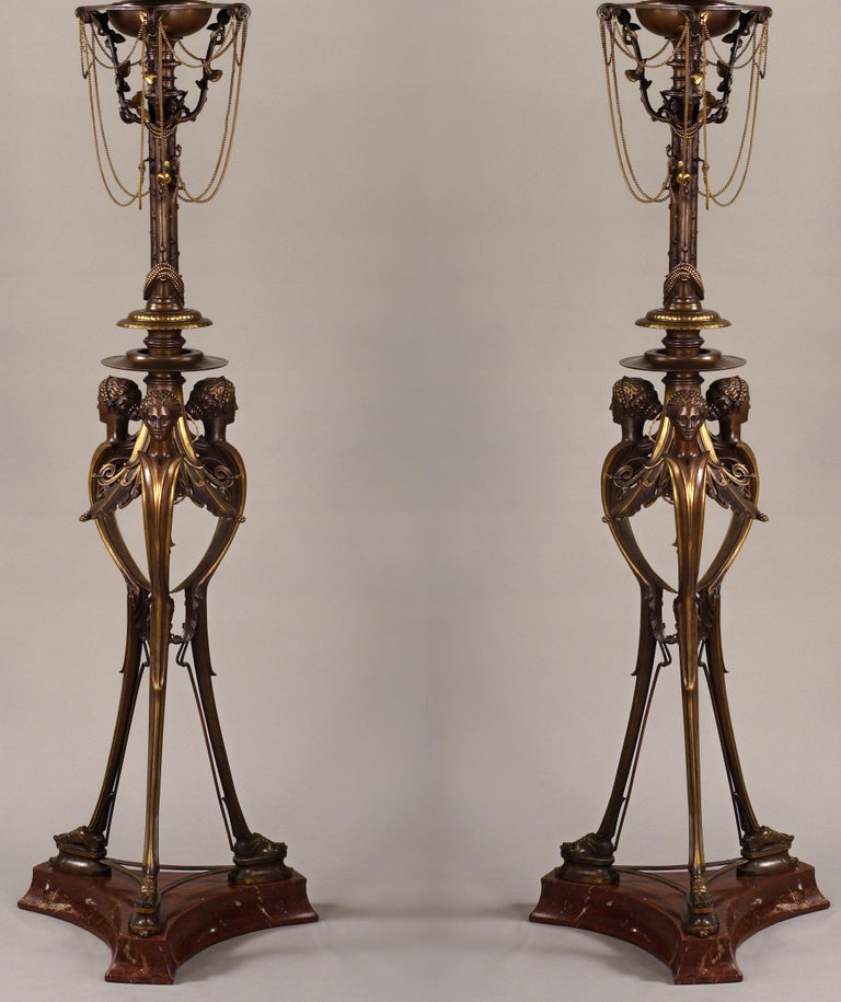 Greek Revival Pair of Neo-Greek Floor Lamps by H. Cahieux and F. Barbedienne For Sale
