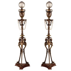 Pair of Neo-Greek Floor Lamps by H. Cahieux and F. Barbedienne