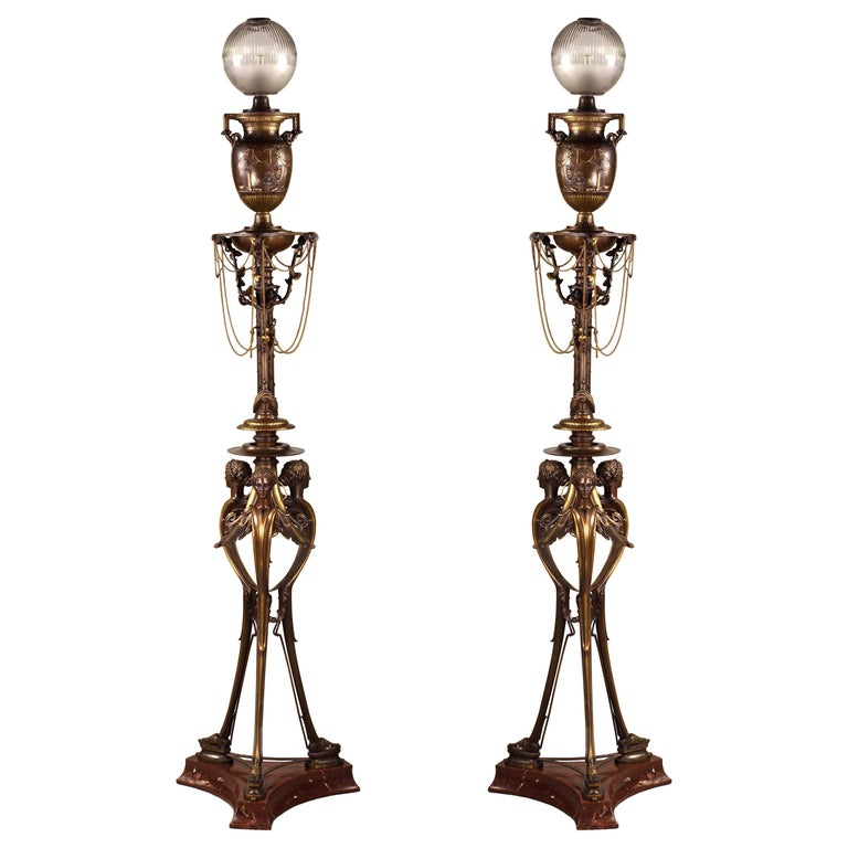 Pair of Neo-Greek Floor Lamps by H. Cahieux and F. Barbedienne For Sale