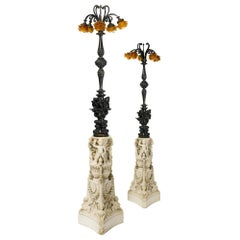 Pair of Néo-Renaissance Patinated Bronze and Carved Marble Floor Lamps