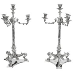 Pair of Neoclasscal Silver Plated 4-Light Candelabra Hodd & Linley, 19th Century