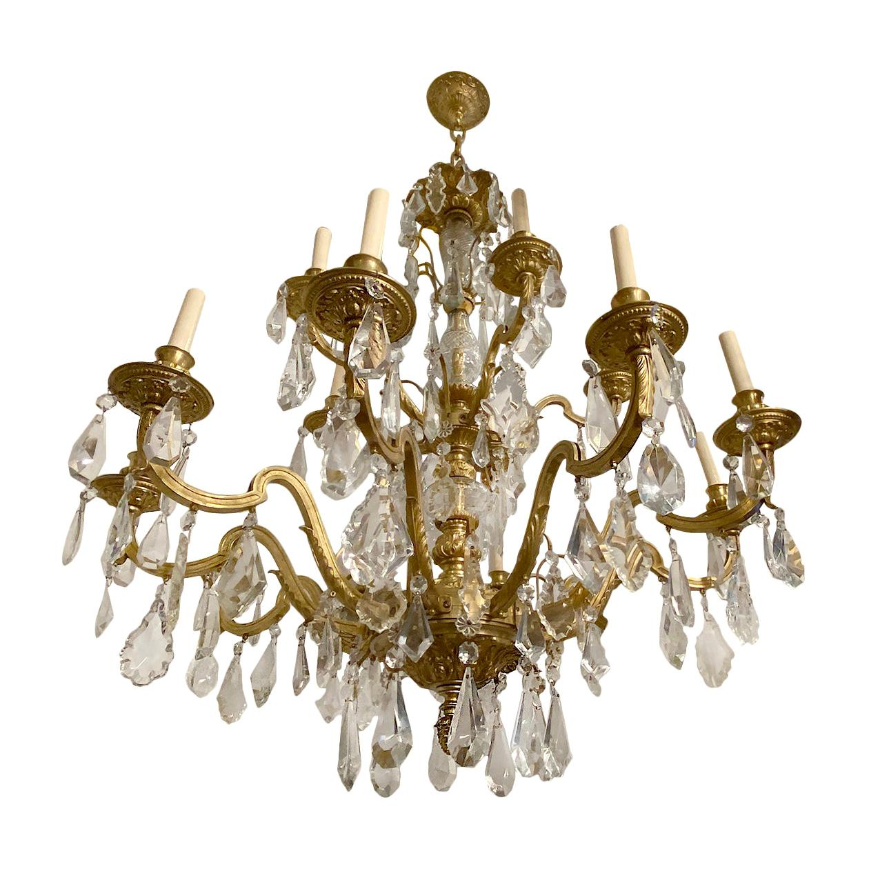 Pair of Neoclassic Bronze Chandeliers, Sold Individually