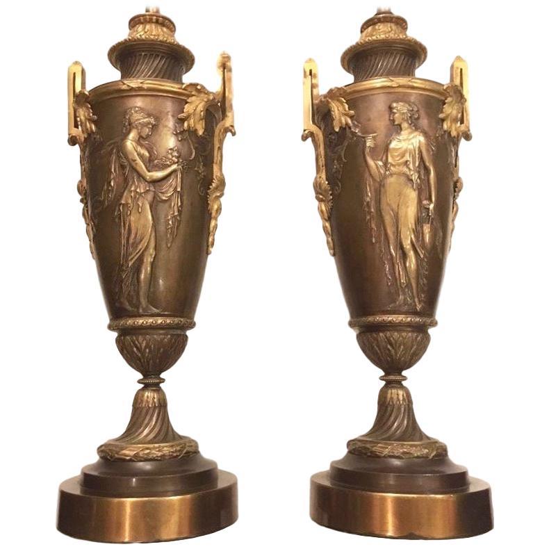 Pair of Neoclassic Bronze Lamps