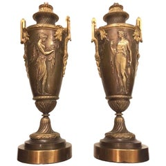 Pair of Neoclassic Bronze Lamps