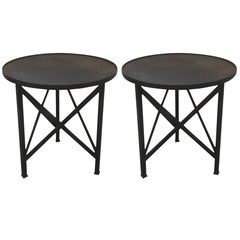 Pair of Neoclassic Industrial Steel Tables