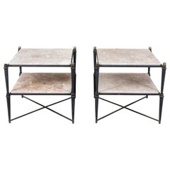 Pair of Neoclassic Rose Marble-Top Tables