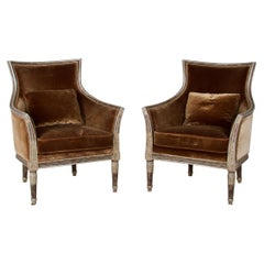 Pair of Neoclassic Style Bergères, Upholstered in Silk Velvet