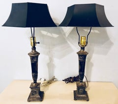 Pair Of Neoclassic Style Silvered Metal Table Lamps With Ebony Metal Shades