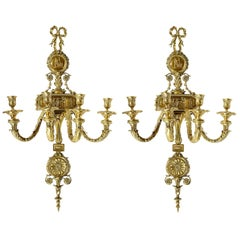 Pair of Neoclassical Adam Style Wall Lights, 19th Century