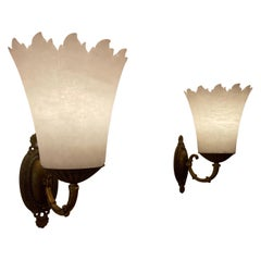 Pair of Neoclassical Alabaster Torch Sconces