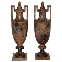 Pair of Neoclassical Alabaster Urns with Lids, circa 1910