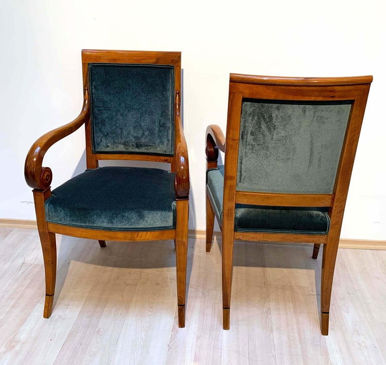 French Pair of Neoclassical Armchairs, Walnut Solid, Green Velvet, France, circa 1830 For Sale