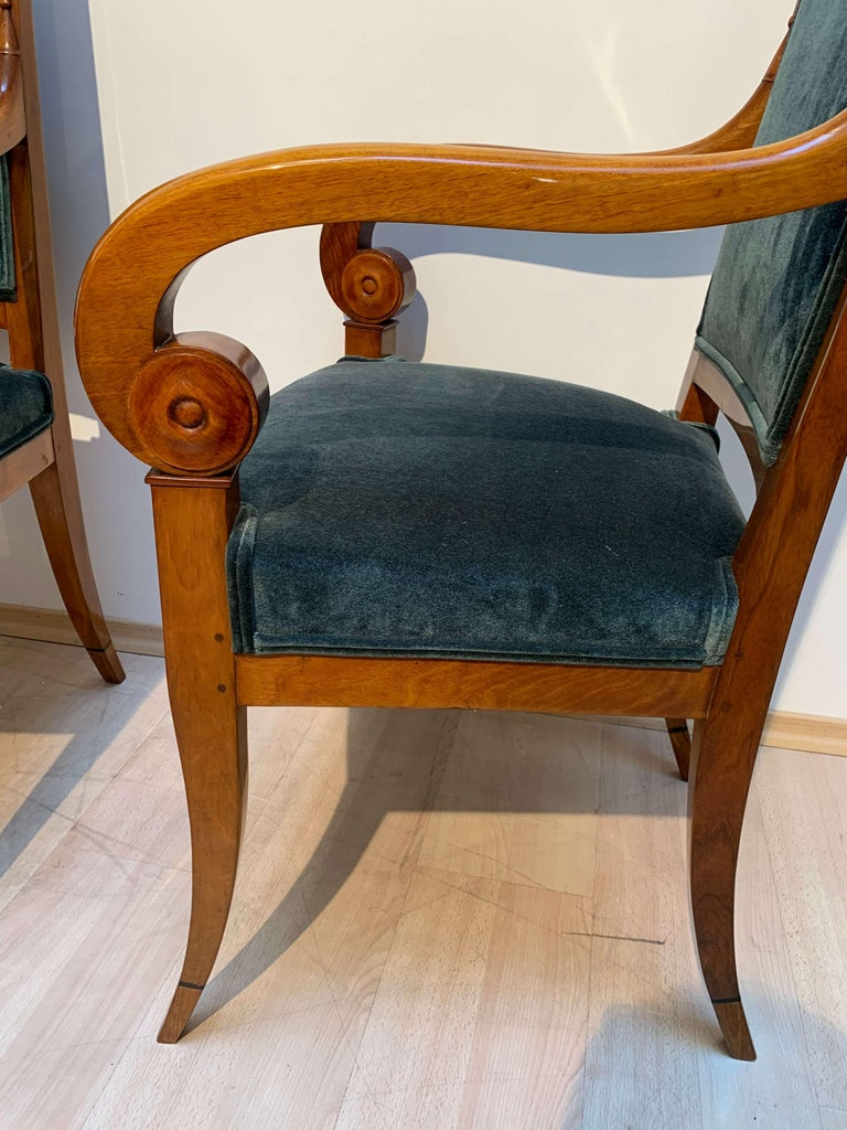 Polished Pair of Neoclassical Armchairs, Walnut Solid, Green Velvet, France, circa 1830 For Sale