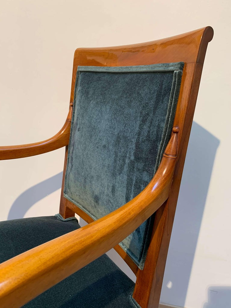 Mid-19th Century Pair of Neoclassical Armchairs, Walnut Solid, Green Velvet, France, circa 1830 For Sale