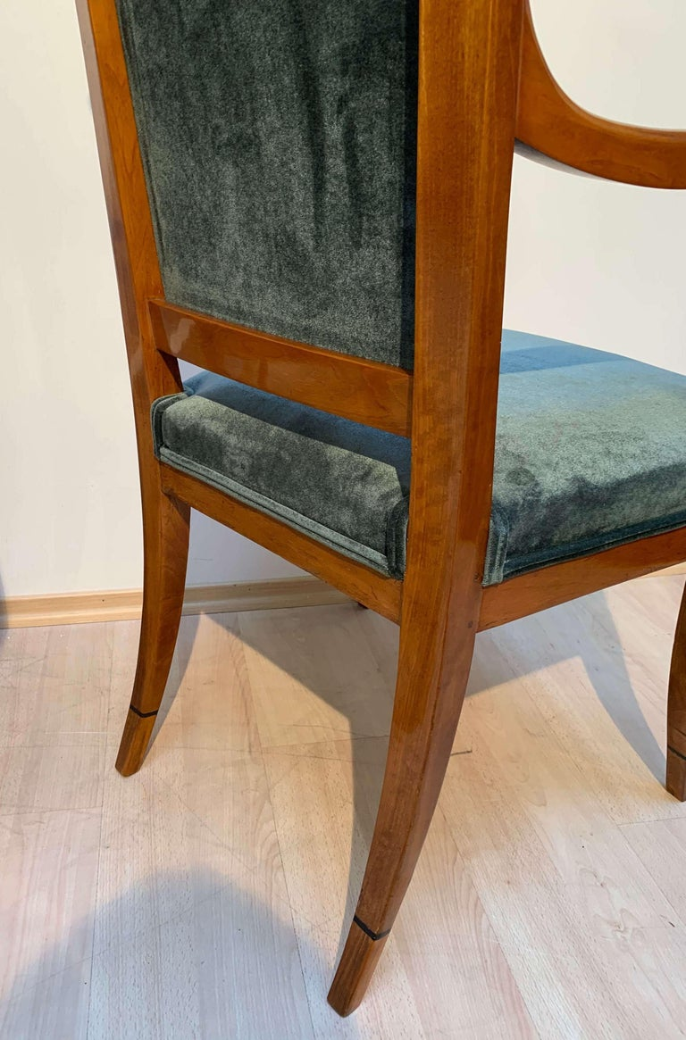 Pair of Neoclassical Armchairs, Walnut Solid, Green Velvet, France, circa 1830 For Sale 2