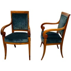 Pair of Neoclassical Armchairs, Walnut Solid, Green Velvet, France, circa 1830