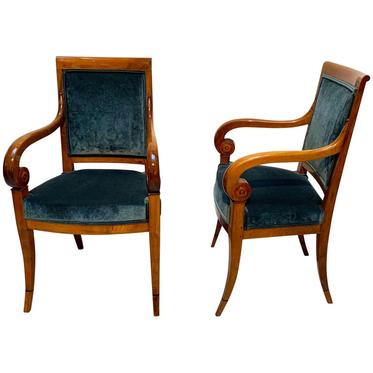 Pair of Neoclassical Armchairs, Walnut Solid, Green Velvet, France, circa 1830 For Sale