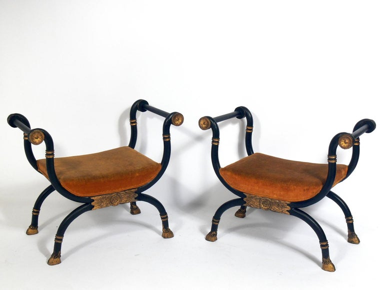 Pair of neoclassical Benches, probably Italian and circa late 19th century. They are currently being reupholstered and can be completed in your fabric. Simply send us three yards of your fabric after purchase.
