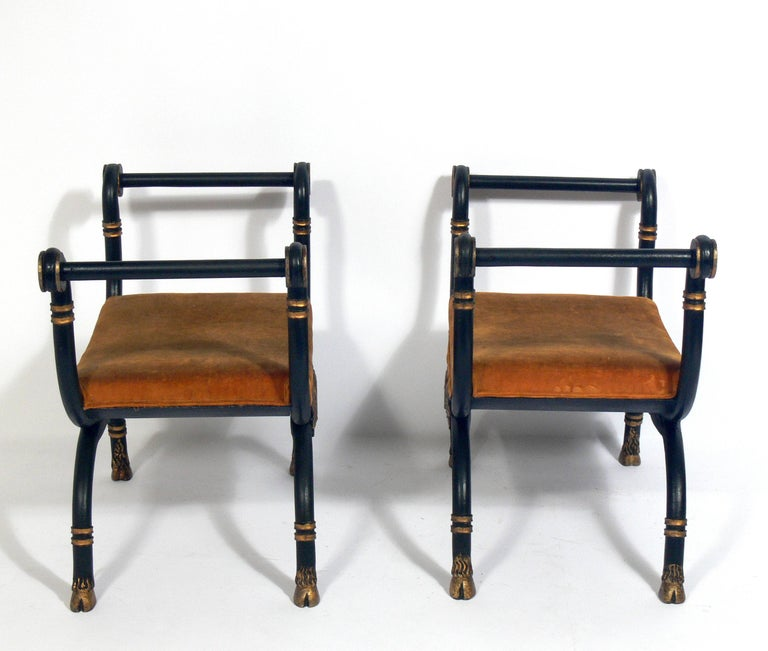 Italian Pair of Neoclassical Benches For Sale