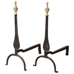 Pair of Neoclassical Brass and Iron Andirons