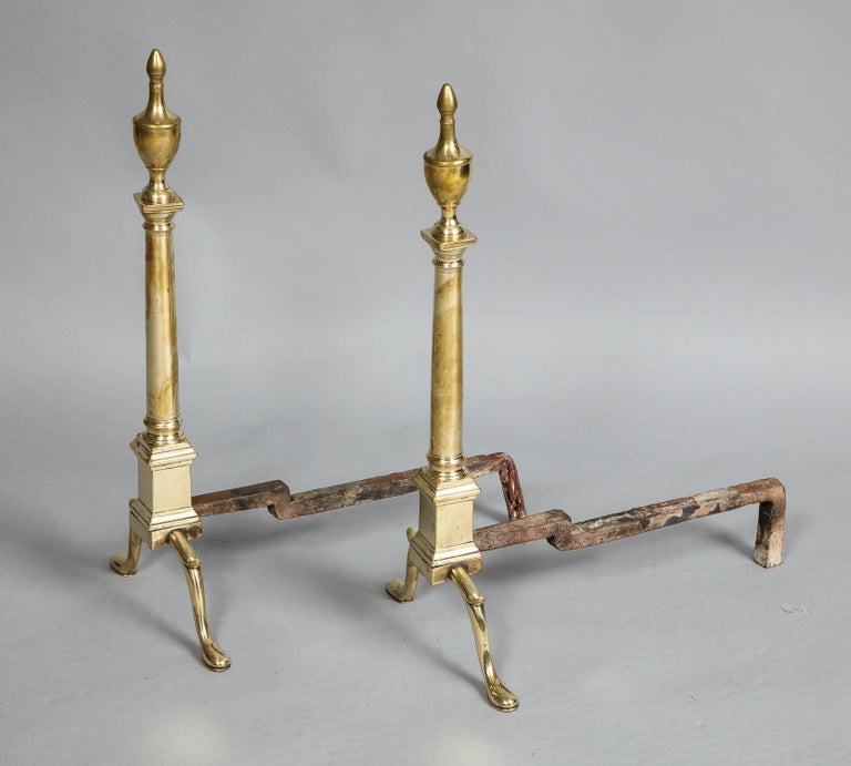 Adam Style Pair of Neoclassical Brass Andirons For Sale