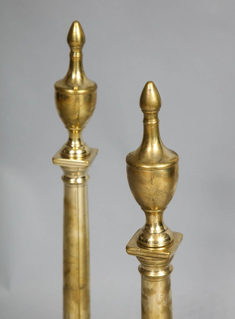 Pair of Neoclassical Brass Andirons In Good Condition For Sale In New York, NY