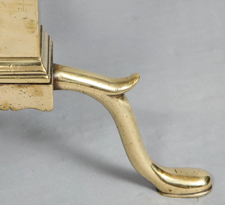 Pair of Neoclassical Brass Andirons For Sale 2