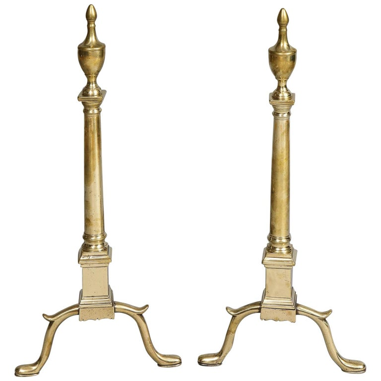 Pair of Neoclassical Brass Andirons For Sale