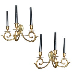 Pair of Neoclassical Brass Sconces, circa 1950