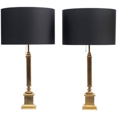 Pair of Neoclassical Brass Table Lamps, French, circa 1950s