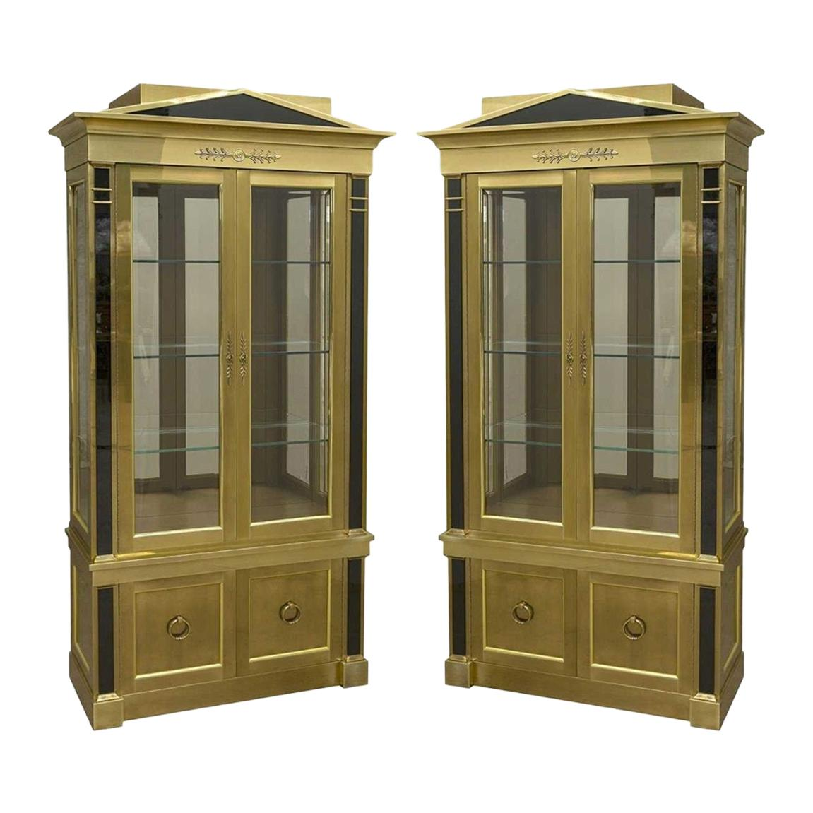 Pair of Neoclassical Brass Vitrine Cabinets by Mastercraft