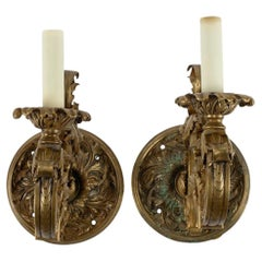 Pair of Neoclassical Bronze Doré Sconces