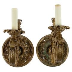 Pair of Neoclassical Bronze Doré Sconces