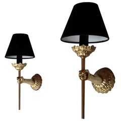 Pair of Neoclassical Bronze Sconces, Maison Lancel, France, 1960