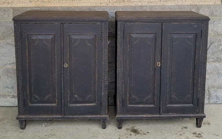 Swedish Pair of Neoclassical Cabinets For Sale