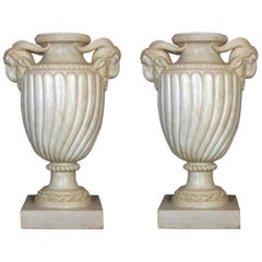 Pair of Neoclassical Carrara White Marble Vases or Urns