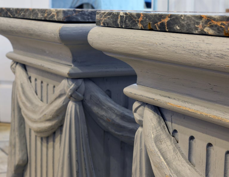 Pair of Neoclassical Carved Gray Painted Gustavian Style Marble Top Pedestals For Sale 9