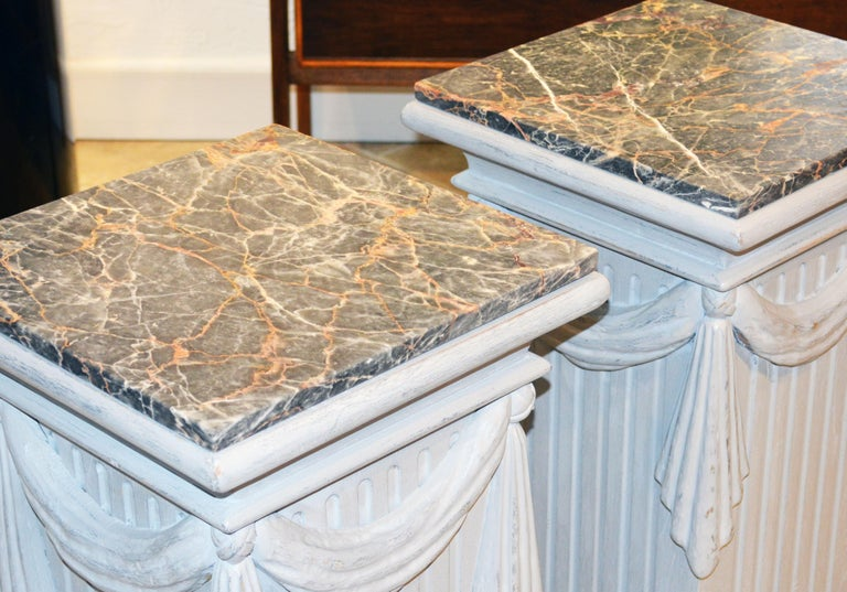 Pair of Neoclassical Carved Gray Painted Gustavian Style Marble Top Pedestals For Sale 10