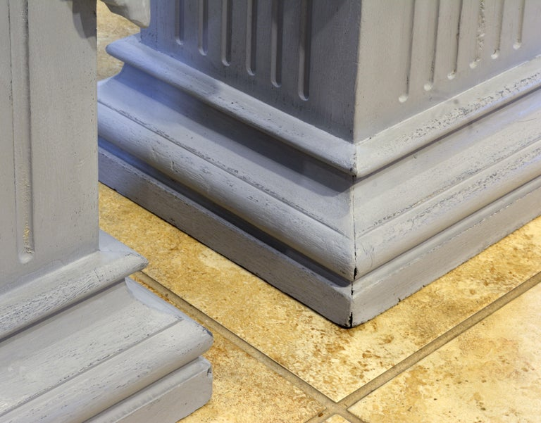 Pair of Neoclassical Carved Gray Painted Gustavian Style Marble Top Pedestals In Good Condition For Sale In Ft. Lauderdale, FL